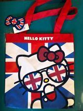 HELLO KITTY FACE GLITTER LONDON UNION JACK TOTE SHOPPER HANDBAG BAG pink red blu