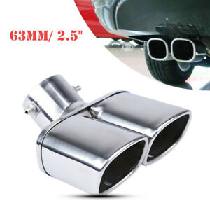 "63mm / 2.5"" Stainless Chrome Car Dual Exhaust Tip Square Tail Pipe Muffler"