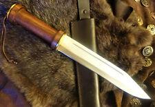 Sax-Mittelalter-Wikingermesser-Holz+Stahl-Handgeschmiedet-Holzgriff-SCHARF-(TM21