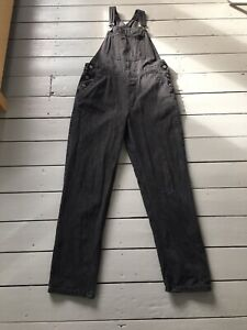 ASOS Womens Tall Black Denim Dungarees Size 12