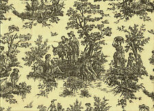 Elegant French Country Cotton Toile Black Cream Upholstery Drapery Fabric