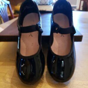 Capezio Tele Tone Tap Sz 12 M  Black Patent Leather Girls Dancing Shoes