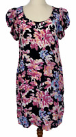 Portmans Womens Black Floral 100% Silk Short Sleeve Dress Size 8