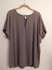 Michael Kors Polyester/spandex Safari Green, metalic gold color decore, Size S