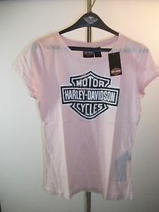 99191-13VW/000M HARLEY DAVIDSON PINK WOMENS M DISTRESSED GRAPHIC GLITTER TEE