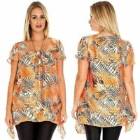New Ladies Orange Black Abstract Print Plus Size Summer Evening Tunic Top