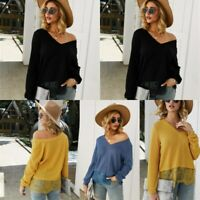 Womens T-Shirt Loose Jumper Casual Lace Pullover Tops Floral Long Sleeve V Neck