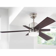 "Unique 52"" Cabin Ceiling Fan Remote Brushed Nickel Fixture Industrial Loft Light"
