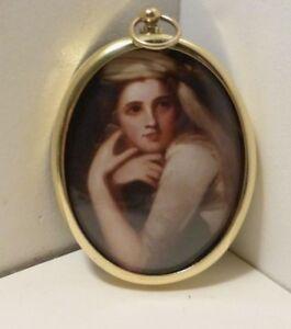 Miniature Portrait of Emma Hamilton wearing a turban in an oval brass bezel