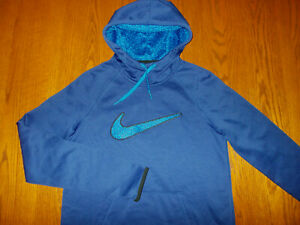 NEW NIKE THERMA-FIT BLUE HOODED SWEATSHIRT WOMENS SMALL