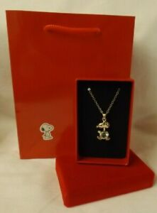 Snoopy / Peanuts theme gift - Silver colour diamante necklace in box & gift bag