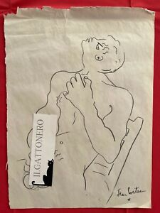 JEAN COCTEAU - PENCIL DRAWING ON ORIGINAL PAPER OF THE '50s - Erotic Drawing!