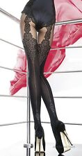 Fiore Gladis Stylish Black 40 Denier Tights With Imitation Stocking Pattern 4 - Large
