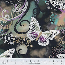 Butterflies FILIGREE FLUTTER Purple Swirls Flowers MM Fabric By the FQ - 1/4 YD