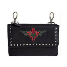 Genuine Leather Belt Bag - Hip Purse - Studded - Red Heart Biker / Motorcycle