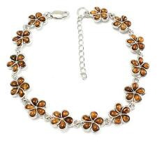"GENUINE INLAY HAWAIIAN KOA WOOD PLUMERIA FLOWER LINK BRACELET 925 SILVER 7 1/8""+"