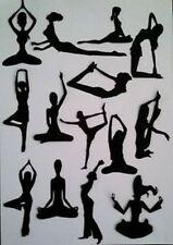 14 x Lady Donna Ragazza Yoga Esercizio Silhouette muoiono Tagli Qualità Nero Scheda