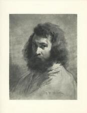 VINTAGE PORTRAIT OF FRENCH ARTIST JEAN FRANCOIS MILLET HANDSOME MAN ART PRINT