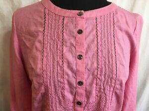 J. JILL OPEN Embroidery Dress CUTOUTS Pink LINEN Size Small Petite SHIFT L-Slv