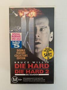 DIE HARD & DIE HARD 2 Collectors Edition Bruce Willis Action Movie VHS Free Post