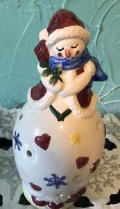 Snowman votive tea light candle burner winter CHRISTmas decoration Snowwoman