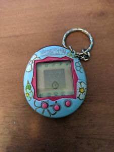 Tamagotchi Connection V2 Blue W/ Flowers Bandai 2004 tested works