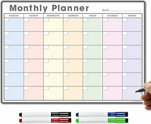 A3 Fridge Calendar, Monthly Planner Dry Wipe Magnetic Meal Planner Whiteboard