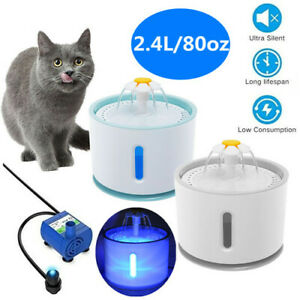Electric Cat Dog Automatic Water Fountain Dispenser Pet Drinking Bowl+LED Light