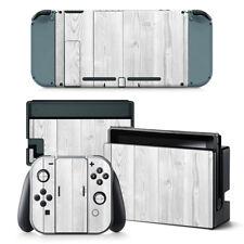 Nintendo Switch Skin Design Foils Aufkleber Schutzfolien Set - White Wood Motiv