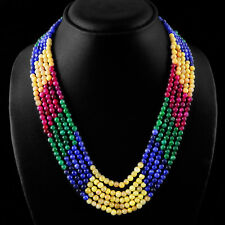 FABULOUS TOP BEST 382.50 CTS EARTH MINED RUBY, EMERALD & SAPPHIRE BEADS NECKLACE