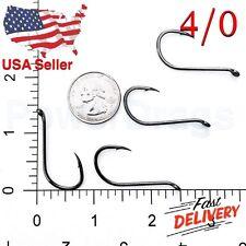 100x Size #4/0 Offset Octopus Fishing Hooks Black hook Chemically Sharpened USA