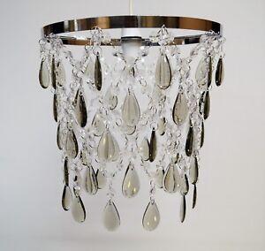 Large Chandelier Style Pendant Shade Acrylic Crystal Chrome Smoky