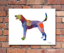 "American Foxhound Abstract Watercolor 11"" x 14"" Art Print by Artist Dj Rogers"
