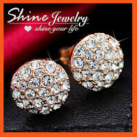 18K ROSE GOLD GF Simulated Diamond WEDDING BUTTON SOLID Round STUD EARRINGS gift