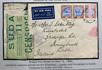 1940 Port Sudan Sudan War Time Airmail Irish Censors Cover To Dublin Ireland