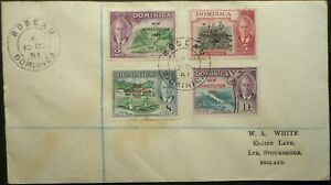 DOMINICA 15 OCT 1951 KGVI COVER W/ CONSTITUTION STAMPS FROM ROSEAU TO ENGLAND