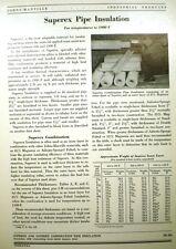 Superex ASBESTOS Pipe Insulation JOHNS-MANVILLE 1949