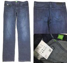 HUGO BOSS Straight Jeans 36x34 (37x33.5) Stretch Cotton Maine Blue Dark Wash