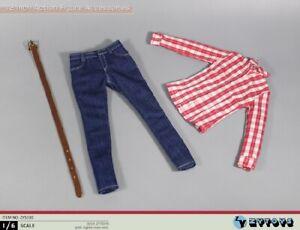 ZYTOYS 1/6 Female Red Plaid Denim Suit Thin Figure Clothes Shirt Trouser ZY5030