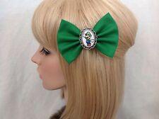 Luigi hair bow clip rockabilly pin up super Nintendo bros Mario green geek retro