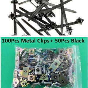 150Pcs Nylon Tie Wrap Fastening Clips +Door Panel Fastener Fixed Screw U-Type