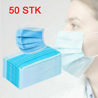 50 Stück 3-Lagig Mundschutz Atem Einweg Maske Gummiband Filter Schutzmaske