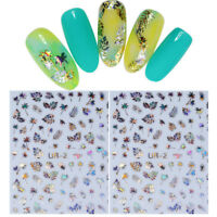Holographicss Silver 3D Nail Sticker Leaf Coconut Tree Nail Art Transfer Decals