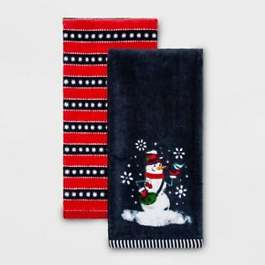 Snowman Hand Towel 2pk Striped Embroidered Cotton Navy Blue/Red Xmas Holiday