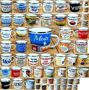 Tasse Tassen Emaille Becher Kaffeetasse Teetasse Sprüche Spaß VIP Camping NEU