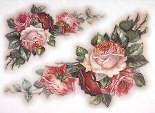 Carta di riso per Decoupage Decopatch Scrapbook Craft sheet vintage dipinto rose