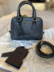 Authentic Prada Promenade Lux Mini Saffiano Leather Tote Crossbody Bag
