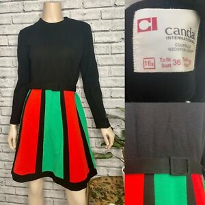 Vintage Black A Line Dress - 1960's Mod Red/Green Colourblock