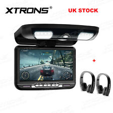 "9"" In Car Roof Overhead Monitor Flip Down Screen Video DVD Player + 2 Headphone"