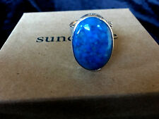 New Sundance Jes MaHarry Touchstone Ring 7 Silver Denim Lapis $690 super wide  B